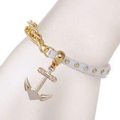 New gold chain Anchor bracelet leather bracelets pulsera ancla hot charm bracelet women pulseras mujer women jewelry