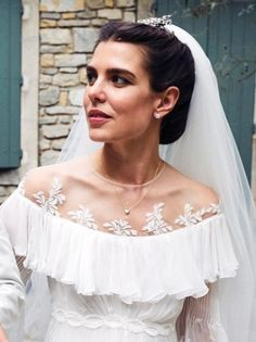 TIARA ALERT: Charlotte Casiraghi wore a floral diamond hairpiece at her wedding to Dimitri Rassam on 29 June Princess Caroline Of Monaco, Princess Charlene, Royal Brides, Royal Weddings, Diamond Hair, She Walks In Beauty, Religious Wedding, Court Dresses, Wedding Insurance