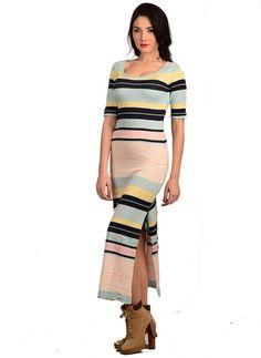 Bayan Triko Elbise Uzun 2293 Çizgili   Modelleri ve Uygun Fiyat Avantajıyla   Modabenle