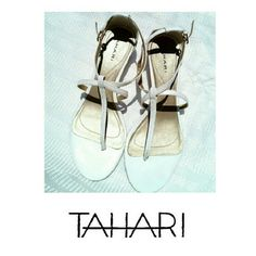 "TAHARI ""RAY"" WHITE LEATHER STRAP SANDALS TAHARI ""RAY"" WHITE LEATHER STRAP SANDALS * 1 1/2"" WEDGE HEELS * SIZE 7 1/2"" *  NO SCUFFS OR MARKS * IN EXCELLENT CONDITION. TOO SMALL Tahari Shoes Sandals"