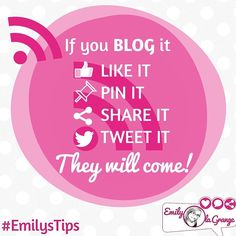 If you BLOG IT will they come? Not likely...  But if you:  Like it Pin it Share it Tweet it...  THEY WILL COME!
