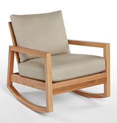 NEW: Lloyd Wood Rocking Chair, Oak Linen Blend