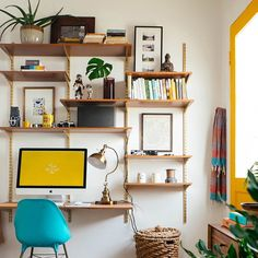 """""""For small spaces, walls become your best friends. I built this wall unit so I can use it as a desk and to store all my books and trinkets. I spray painted…"""""""