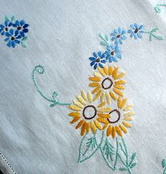Vintage Hand Embroidered Sunflowers & Forget Me Nots Cream Linen Tablecloth