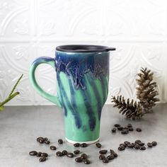 Ceramic Coffee Travel mug with handle, Mint Green Blue, BlueRoomPottery with black lid pottery Kitchen gift for him / her, MADE TO ORDER