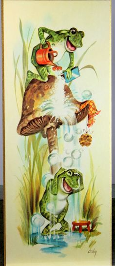 Vintage 1970s Coby Playful Frogs Picture Kitchen Wall Decor