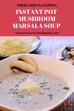 Mushroom Marsala Soup is created with fresh ingredients for the best flavor. Rosemary thyme and a splash of dry Marsala wine enhance the earthy elements of baby portobello mushrooms. Cooks in just minutes in your pressure cooker. Healty Dinner, Dinner Entrees, Lunch Recipes, Easy Dinner Recipes, Easy Meals, Pressure Cooking Today, Mushroom Soup Recipes, Marsala Wine, Stuffed Mushrooms
