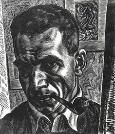 """Isac Friedlander, 1890-1968, Self Portrait, 1935  wood engraving, edition 50  10 1/2 x 9"""""""