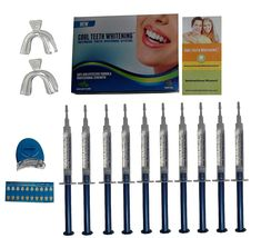 Cool Teeth Whitening Kit (10) Syringes of 44 Carbamide Peroxide Gel - (1) LED Accelerator Light - (2) Trays - (1) Shade Guide - (1) Instructions Sheet - at Home Tooth Whitener Products ** Continue to the beauty product at the image link.