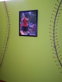 softball bedroom wall. Oh my this is what kenzie wants in her room!!!