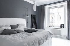 99 White And Grey Master Bedroom Interior Design 36 Master Bedroom Interior, Gray Bedroom, Home Decor Bedroom, Bedroom Curtains, Design Bedroom, Bedroom Furniture, Bedroom Styles, Grey Walls, Interior Design