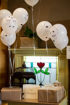 """Owlery"" scene--used the popular owl balloons to ""deliver"" gifts."
