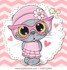 Cute Cat girl in pink eyeglasses. Cute cartoon Cat girl in pink eyeglasses with a bow vector illustration Cartoon Images, Cute Cartoon, Cartoon Cats, Animals Images, Cute Animals, Pink Eyeglasses, Catgirl, Cute Clipart, Cutest Animals