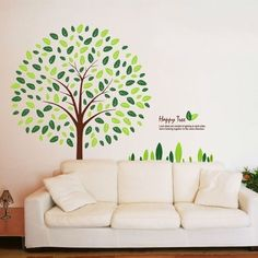 Good Green Leaves Happy Large Tree Wall Sticker Wall Decal, Http://www. Photo