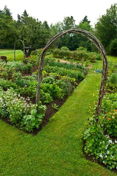 "Grass pathway through the vegetable or flower garden and a twig arch on each end of the path. Remember to make it the same width as the mower. The twig arch would look great with a gate. Image from the ""Complete Kitchen Garden Book"""