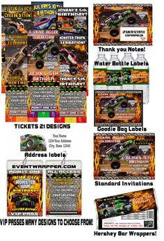 monster+truck+birthday+party   Monster Jam Truck Birthday Party Invitations Favors   eBay