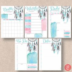 Dream Catcher Printable Planner 5 pack includes Daily Planner, Weekly Planner, Monthly Planner, To Do Planner and Notes Planner. - Weekly and Monthly start on a Planner A5, To Do Planner, Daily Planner Printable, Planner Pages, Diary Planner, Planner Inserts, Printable Stickers, Planner Stickers, Free Printable