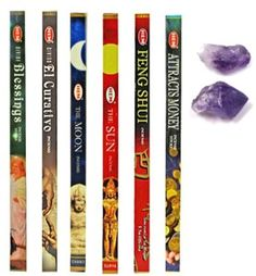 5 Variety Incense Packs- (Plus 3 More) the Moon, the Sun, Feng Shui, Attract Money, Devine Healing Extra Devine Blessings Incense and Small Amathyst Crystal for Healing and Getting Rid of Addictions Fragrance Oil Burner, Attract Money, Oil Burners, Feng Shui, Crystal Healing, Incense, Attraction, Blessed, Crystals