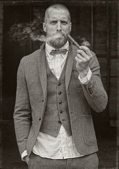 a taste of the American frontier/wild west... Tweed 3 piece suit, bow tie, beard and pipe