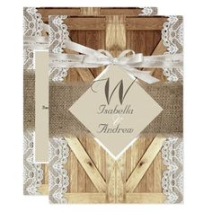 Rustic Wedding, Rustic Wooden Barn Door with Writing, Beige White lace Wood and burlap hessian, Country Marriage, Hessian Invitation hessian wedding. Burlap Invitations, Coral Wedding Invitations, Wood Invitation, Zazzle Invitations, Invitation Cards, Wooden Barn Doors, Rustic Doors, Wood Doors, Hessian Wedding