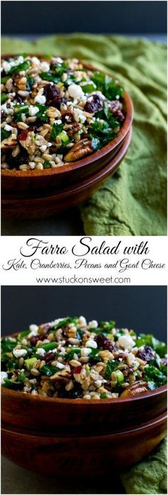 Farro Salad with Kale, Cranberries, Pecans and Goat Cheese. A great healthy Fall recipe! http://www.stuckonsweet.com/festive-fall-farro-salad-kale-cranberries-pecans-goat-cheese/