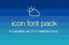 A custom @font-face icon font with scalable vector icons. This is a complete set of 60 weather icons inspired by iOS...