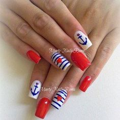 Have a look at the collection of 15 Fourth of July acrylic nail art designs, ideas, trends & stickers of of July nails. Nautical Nail Designs, Nautical Nail Art, Nail Art Designs, Anchor Nail Art, Love Nails, Pretty Nails, Sailor Nails, Cruise Nails, Patriotic Nails
