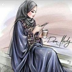 Hijabi Girl, Girl Hijab, Cartoon Girl Images, Girl Cartoon, Photos Islamiques, Mode Turban, Beautiful Girl Drawing, Hijab Cartoon, Muslim Women Fashion