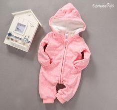 43937f4c3 Bebé recién nacido Ropa Del Cabrito Del Mameluco Del Mono Del Bebé Con  Capucha de Manga Larga Polka Dot Mamelucos Del Bebé Niños Trajes de Niño  Ropa de Bebé