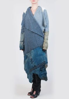 Greg Lauren Nomad Coat In Blue Patchwork $3375