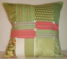 Green Pink Floral Pillow Cushion Preppy by VintageUpcycled on Etsy, $85.00 BBeautiful combination of designer fabrics decorative stitching and vintage buttons. One of a kind-handmade!