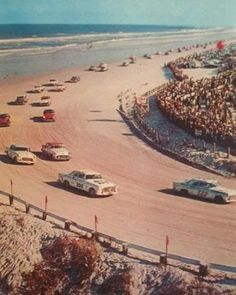Daytona Beach Grand National 1955.....Front row starters Tim Flock and Lee Petty, in a pair of Chrysler 300s, lead the 48-car field on the pace lap prior to the start in 1955. The second row consists of Dick Rathmann and Fireball Roberts, with Dick Joslin and Junior Johnson occupying the third row. Flock was declared the winner after apparent winner Roberts was disqualified.