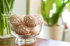 A tutorial from flax & twine to cover an easter egg with crochet. Sorry I didn't find it sooner! (Although I think I'd rather spend the effort on a rock, or something else I don't have to worry about the odor of.)