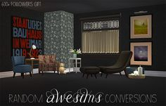 "600+ Followers Gift - Random Awesims Conversions and recolors -  In the download you will find: Canvas Prints (mesh + 6 recolors) Chevron Armchair (mesh + 15 recolors) SWATCH HERE SF Club Armchair (mesh + 15 recolors) SWATCH HERE SF Endtable (mesh + 11 recolors) SWATCH HERE Curve lounger (mesh only) 27 recolors of Gorey Midcentury Art with Viviana Gonzales art swatches for everything PSDs for easier recoloring (just add a new layer with your texture and apply ""multiply"" or ..."