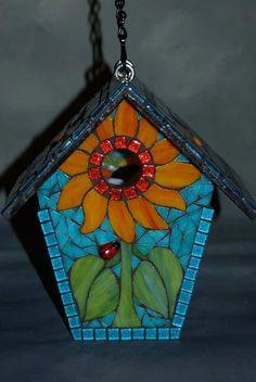 modern mosaic bird house