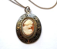 Signed CORO Vintage  Shell Cameo Necklace  1919 by JoolsForYou