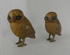 Pair of Brass Owl Figurines Owl Statues Bird Night Owl Mid Century Modern Decor, Night Owl, Statues, Mid-century Modern, Brass, Pairs, Animals, Vintage, Collection