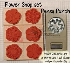 "Notice the black dot on each stamp in the Flower Shop set, and also on the coordinating Pansy Punch. If you mark your ""punchable"" stamp images and punch, you can stamp them on the edge of your card stock and they will be lined up perfectly for ease in punching."