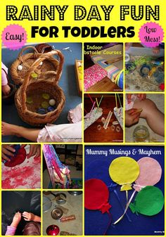 A collection of easy yet fun ideas to keep toddlers busy on a rainy or cold day inside!