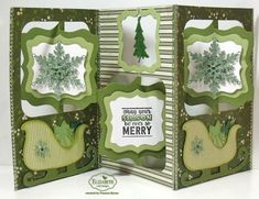 Frances Byrne using the Pop it Ups Fancy Accordion, Holiday Charms, Sleigh and clear stamps by Karen Burniston for Elizabeth Craft Designs
