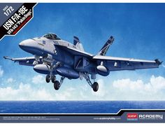 """The Academy 1/72 F/A-18E USN VFA-143 """"Pukin' Dogs"""" from the plastic aircraft model kits range accurately recreates the real life US naval fighter aircraft."""
