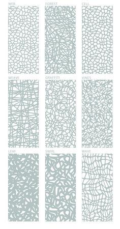 Decorative Screens - options in metal, alum, plywood. Laser Cut Screens, Laser Cut Panels, Laser Cut Metal, Partition Design, Facade Design, Wall Design, House Design, Design Modular, Laser Cut Patterns