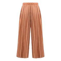 SheIn(sheinside) Elastic Waist Pleated Chiffon Orange Pant (64 PEN) ❤ liked on Polyvore featuring pants, bottoms, orange, orange pants, cropped trousers, cropped pants, stretch waist pants and elastic waist pants