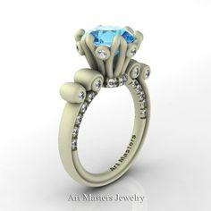 Frozen 14K Green Gold 3.0 Ct Aquamarine Diamond by DesignMasters