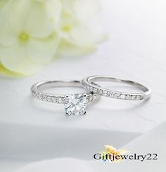 14k White Gold Cushion D/VVS1 Diamond Engagement Rings Wedding Band Bridal Sets #giftjewelry22