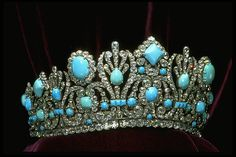 Tiara from of the parure that was a wedding gift from Napoleon to his bride Empress Marie-Louise. The crown originally contained emeralds but Van Cleef and Arpels vandalised it by replacing them with Persian turquoises. The tiara is now in the Smithsonian in Washington.