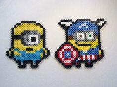 Set of 2 Despicable Me Inspired Minion Perler Bead Art figures Captain America