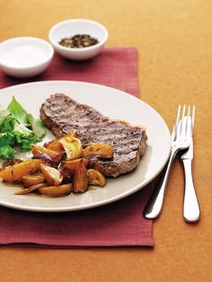 Chargrilled steak with caramelised golden beetroot recipe | delicious. magazine Easy Steak Recipes, Low Carb Recipes, Beef Recipes, Great Recipes, Recipies, Coles Recipe, Beetroot Recipes, Beef Steak