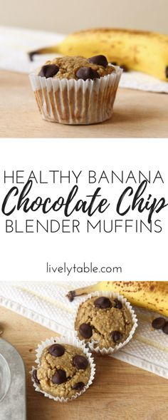 Healthy banana chocolate chip muffins are made in the blender for a super easy and nutritious make-ahead breakfast the you can enjoy on the go! Healthy Muffin Recipes, Healthy Vegan Snacks, Fun Baking Recipes, Fruit Recipes, Healthy Baking, Snack Recipes, Dessert Recipes, Health Snacks, Dessert Simple