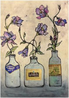 Aquilegia   Collagraph by  Vicky Oldfield